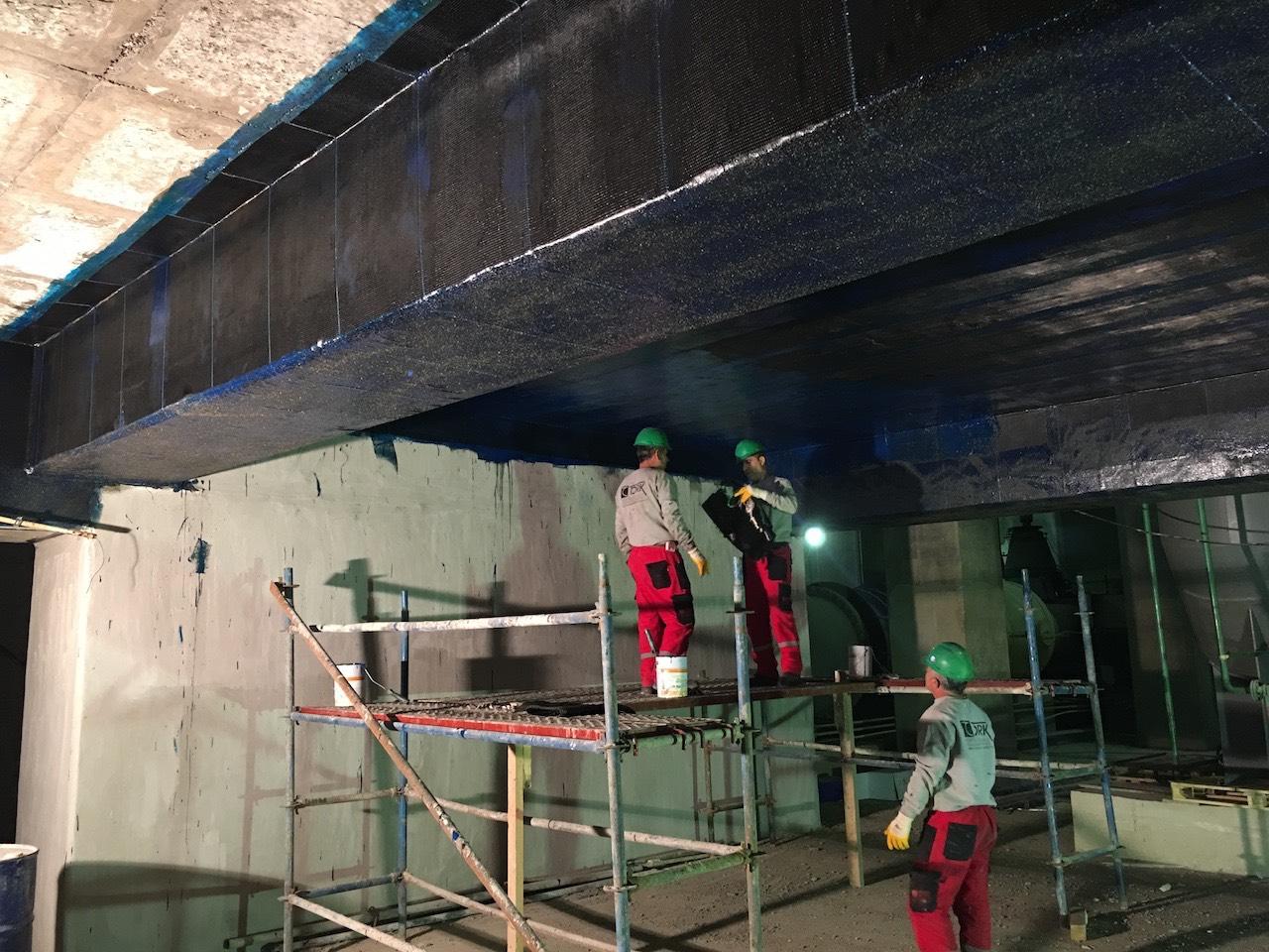 Karbon lifli kumaş ile betonarme döşeme ve kiriş güçlendirme