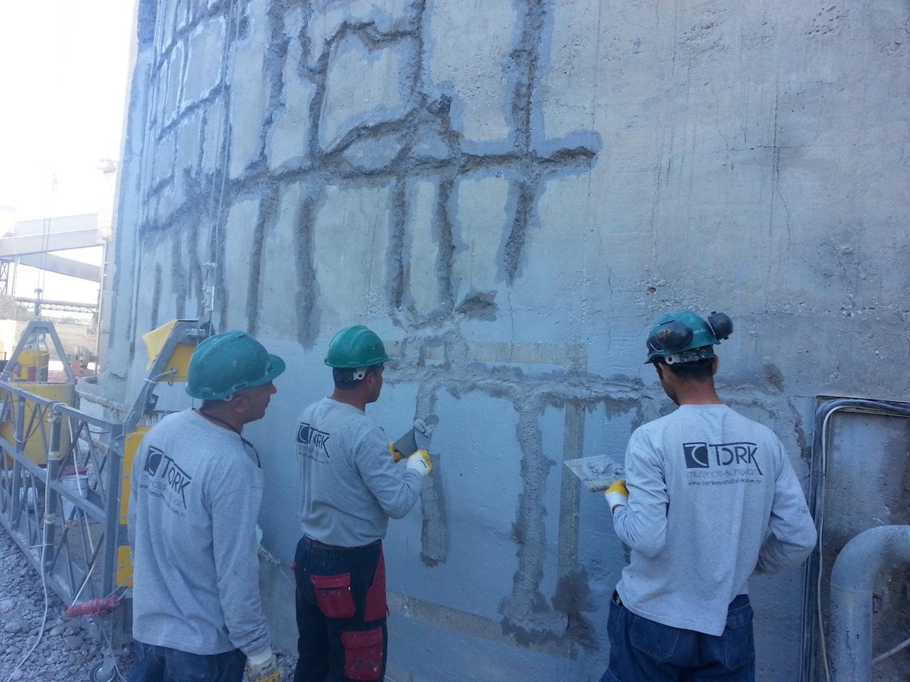 Çimento silosu beton çatlak onarımı