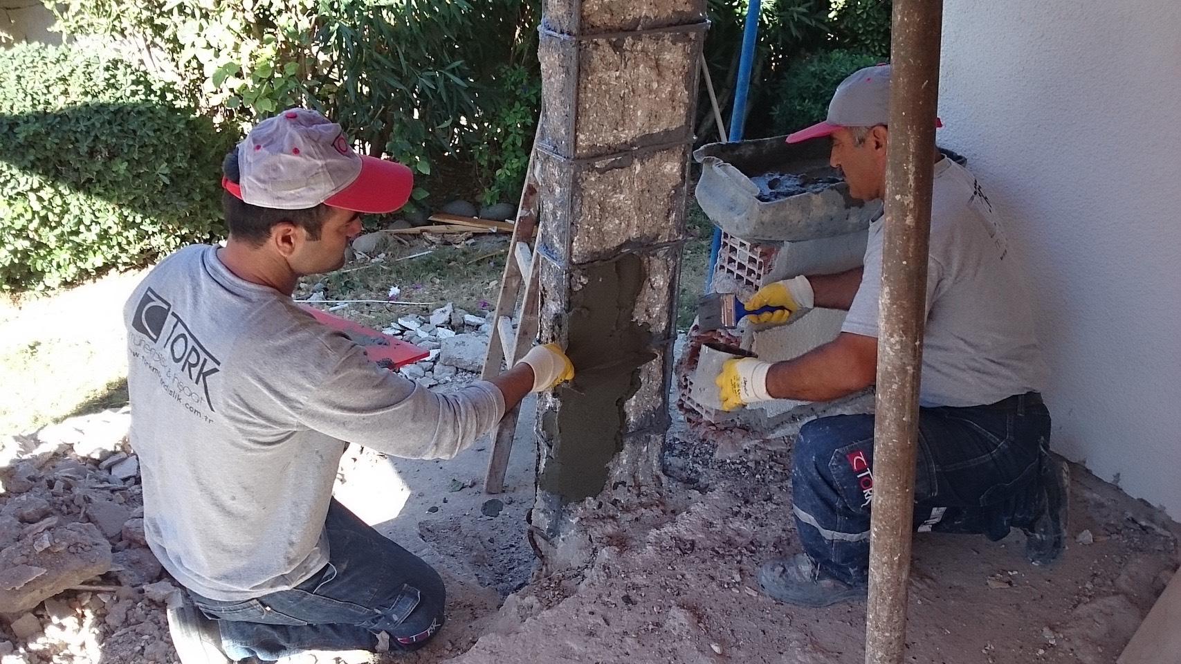 Hasarlı kolon betonu onarımı